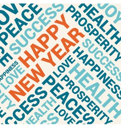 happy new year card word cloud background vector image vector image