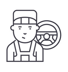 mechanic line icon sign on vector image vector image