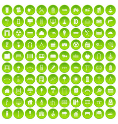 100 architecture icons set green circle vector