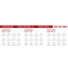 2018 2019 2020 year calendar in danish language vector