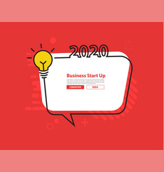 2020 happy new year with creative light bulb vector image