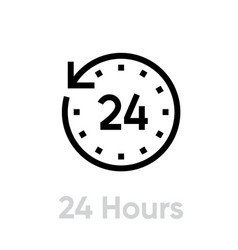 24 hours icon editable outline vector image