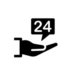 24 hours support icon vector