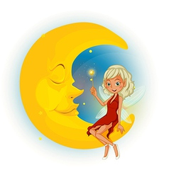 A fairy with a red dress beside the sleeping moon vector image