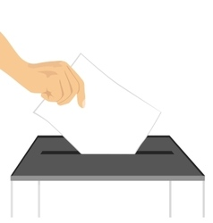 a hand putting paper in ballot box vector image