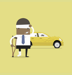 African businessman be injured with car accident vector