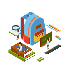 backpack isometric school stationary items vector image