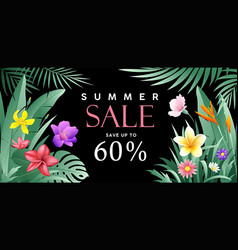 banners summer sale tropical green feaf vector image