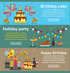 Birthday party banner horizontal set flat style vector