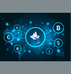 bitcoin cryptocurrency female with laptop vector image
