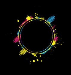 Black and color circle tire frame vector
