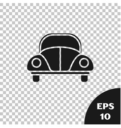 Black car volkswagen beetle icon isolated on vector