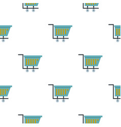 Blue shopping trolley pattern flat vector