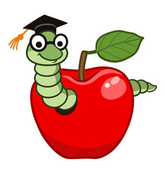 Bookworm in apple vector