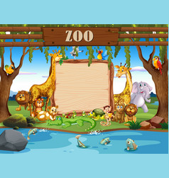 border template with cute animals at zoo vector image