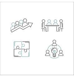 Business teamwork outline icons vector