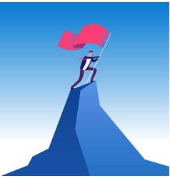 Businessman with flag on mountain peak man vector