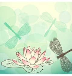 Calm lake background with lotus flower vector
