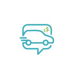 Car online shop store bubble chat icon app logo vector