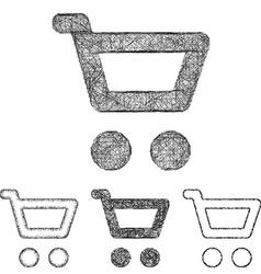 Cart icon set - sketch line art vector