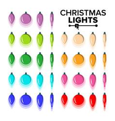 christmas bulbs set flat colored light vector image