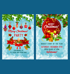 Christmas party invitation with new year garland vector