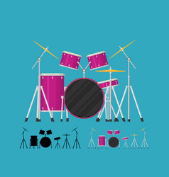 color flat style drum set bass tom-tom ride vector image