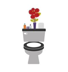 Colorful toilet with decorative vase vector