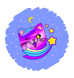 Coloring with cute cat planet and kittens vector