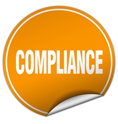 Compliance round orange sticker isolated on white vector