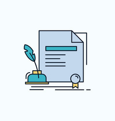 contract paper document agreement award flat icon vector image