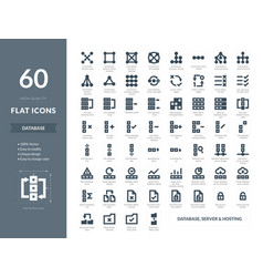 database hosting server icons in vector image