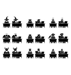 Different characters and people using computer vector