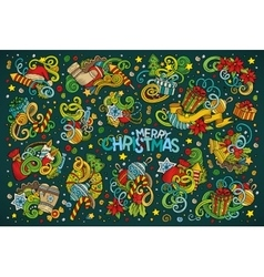 Doodle cartoon set of New Year and Christmas vector image