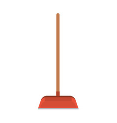 Dustpan with wooden stick in colorful silhouette vector