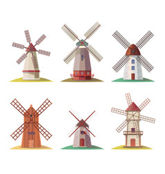 dutch stone mill or netherland wooden windmill vector image