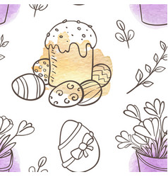 easter seamless pattern with cake and flowers vector image