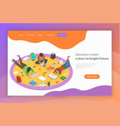 education makes a door to bright future isometric vector image