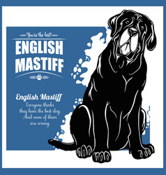 English mastiff - template for t-shirt vector