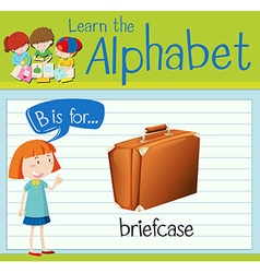 Flashcard letter B is for briefcase vector image