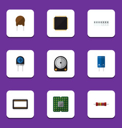 Flat icon appliance set of transistor unit vector