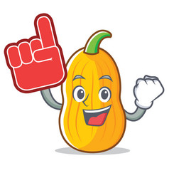 Foam finger butternut squash mascot cartoon vector