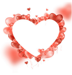 frame background with hearts realistic 3d balloon vector image
