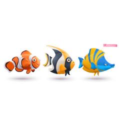 Funny tropical fish clownfish angelfish vector