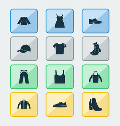garment icons set collection of casual sneakers vector image