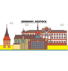 Germany rostock city skyline architecture vector