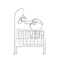 girl with mobile toy cot baby shower furniture vector image