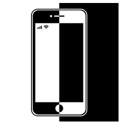 Graphic image of halves of smart phone vector