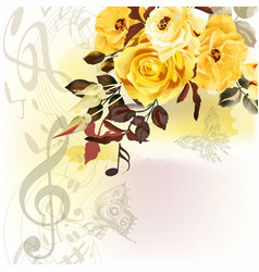 Grunge music romantic background with notes vector
