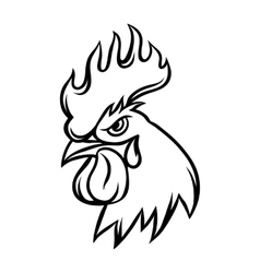 hand drawn black rooster on white vector image